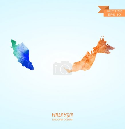 watercolor map of Malaysia