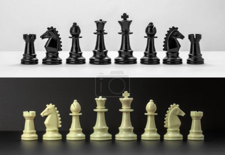 White and Black chess figures isolated on black and white background. Black and White Chess pieces are lined up. Set of chess figures.