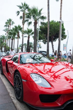 Luxury cars on the street in Cannes,France