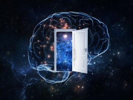 Photo pour Résumé illustre l'idée que comprendre le cerveau humain est aussi complexe que de comprendre l'univers . - image libre de droit