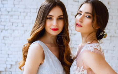 Two brides in a tender light pink and blue wedding dresses in a morning. Fashion beauty portrait