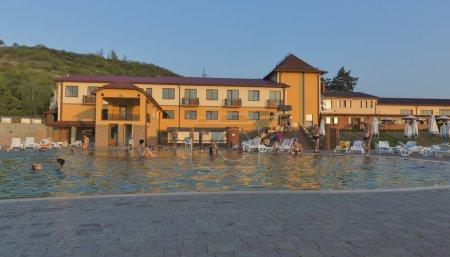 Zhayvoronok thermal outdoor pool in Berehove, Ukraine