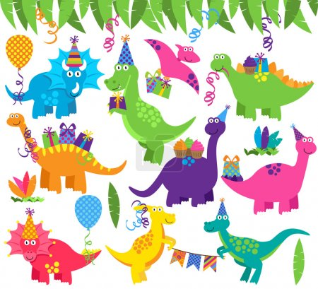 Collection of Vector Birthday Party or Party Dinosaurs and Decorations
