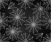 Vector Set of Chalkboard Style Cute and Creepy Spiderwebs