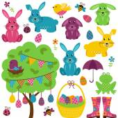 Vector Collection of Easter Bunnies with Tree Eggs and Basket
