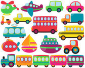 Cute Vector Collection of Transportation Vehicles