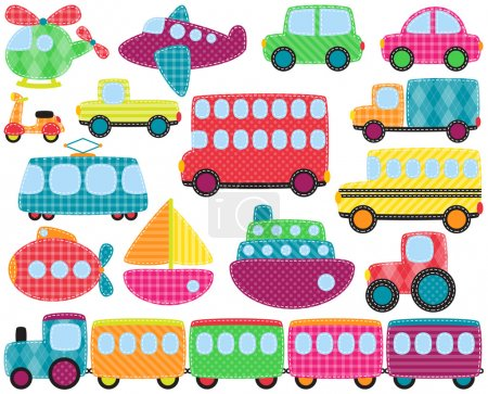 Photo pour Collection vectorielle d'images de transport de style patchwork mignon - image libre de droit