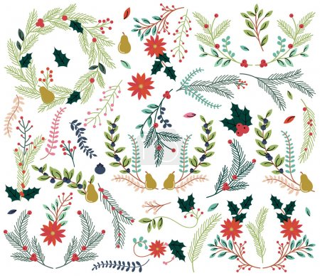 Photo for Vector Collection of Vintage Style Hand Drawn Christmas Holiday Florals - Royalty Free Image