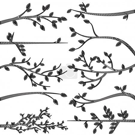 Doodle Style Tree Branch Silhouettes