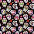 Day of the Dead Sugar Skull Seamless Vector Backgr...