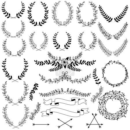 Illustration for Vector Collection of Black Line Laurels, Floral Elements and BannersBlack Line Vector Laurels and Floral Elements - Royalty Free Image