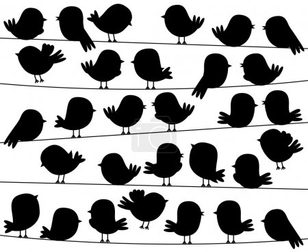 Illustration for Cute Cartoon Style Bird Silhouettes in Vector Format - Royalty Free Image