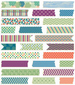 Vector Collection of Cute Patterned Washi Tape Strips in Masculine Colors