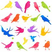 Vector Collection of Bright Watercolor Bird Silhouettes