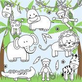 Vector Collection of Cartoon Zoo Animals in Line Art