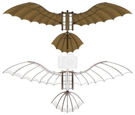 Leonardo Da Vinci Antique Flying