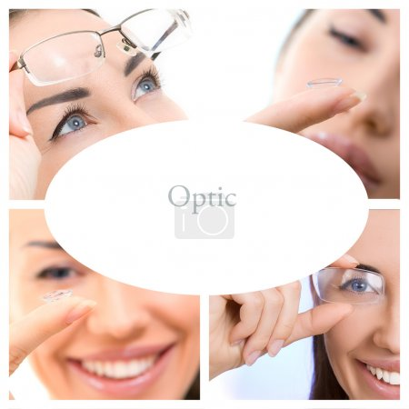 Optics Glasses and Contact lens, Collage (eye services)