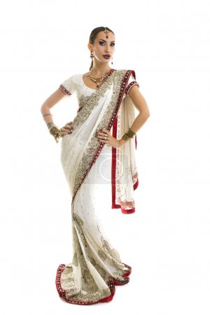 Beautiful Indian Woman in Traditional Sari Clothing with Bridal