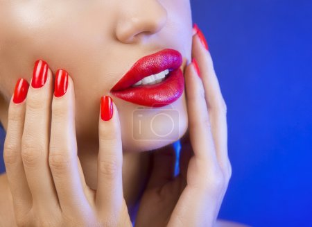 Beautiful Sexy Young Girl with Red Lips and Red Nail Polish, Bri