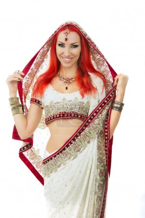 Beautiful Redhead Sexy Woman in Traditional Indian Sari Clothing