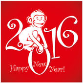 Funny monkey on bright red background 2