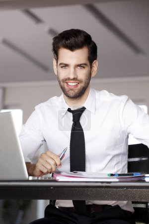 Businessman working on presentation