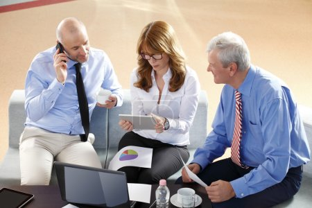 Businesswoman consulting with business people at meeting