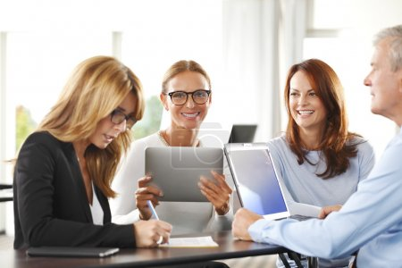 businesswomen sitting at interview