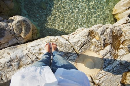 bared feet woman standing by sea