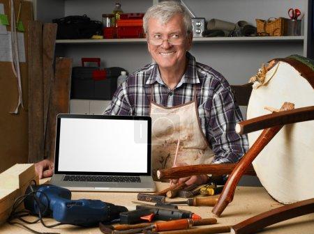 senior carpenter at work