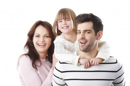 happy family with their cute girl