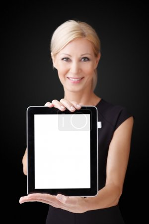 beautiful businesswoman holding tablet