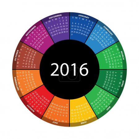 Colorful round calendar for 2016 year.