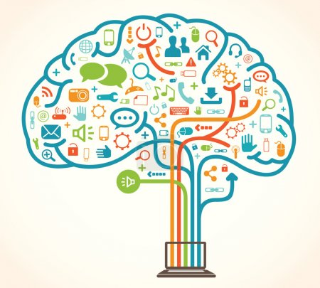 Illustration vector of a network brain concept wit...