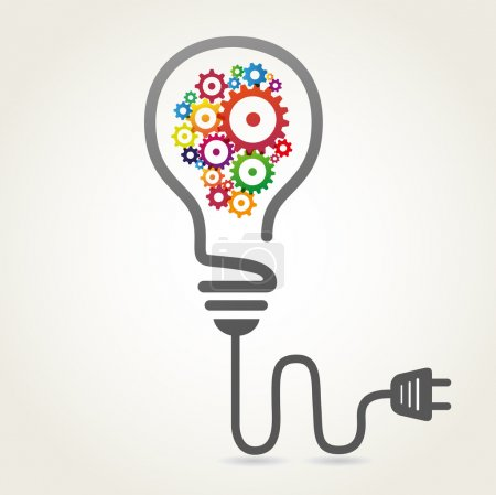 Illustration for Vector concept of creative light bulb with colored gears inside. Eps 10 file. - Royalty Free Image