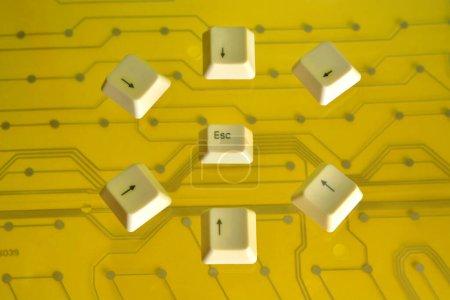 Teclado teclas de flecha rodean la tecla ESC en amarillo eléctrico
