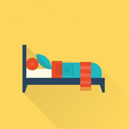 Illustration for Vector flat bed icon vintage simple style - Royalty Free Image