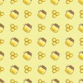 Seamless pattern with honeycomb and honey jar vector background