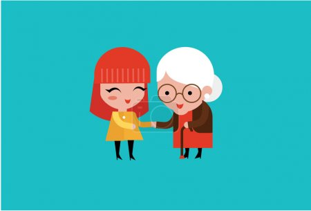 Illustration for Young volunteer woman caring for elderly woman illustration - Royalty Free Image