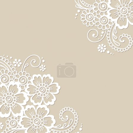 Illustration for White flower corner, lace ornament - Royalty Free Image
