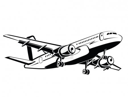 Plane is landing and take-off, the gear. Travel and transportation. Plane icon in monochrome style. Airlines. Airplane flying in the sky. Airplanes silhouettes high detailed, business travel