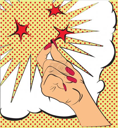 Gestures hand, a snap of the fingers, sparks of red stars. Sketch in style pop art, comics. Call attention and information using finger. Female hand made in pop art style, gesture