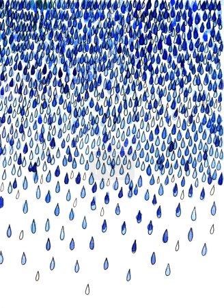 Watercolor illustration of abstraction rain