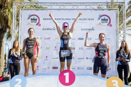 Women triathlon podium