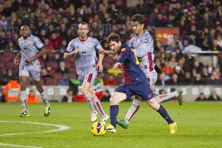 Lionel Messi scoring a goal