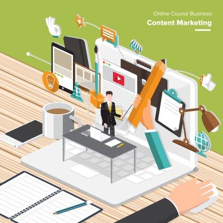 Illustration pour Cours en ligne Business. Concepts de design plat isométrique pour contenu Marketing, recherche de marché cible, Mobile Banking - image libre de droit