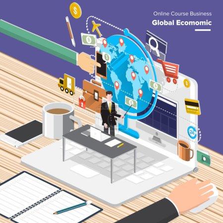 Illustration pour Cours en ligne Business. Concept design plat isométrique pour l'économie mondiale, conseiller financier, gestion des ressources - image libre de droit