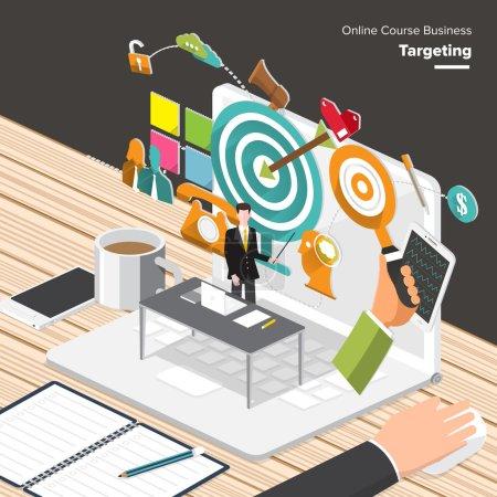 Illustration pour Cours en ligne Business. Concept de design plat isométrique pour contenu Marketing, recherche de marché cible, Mobile Banking - image libre de droit