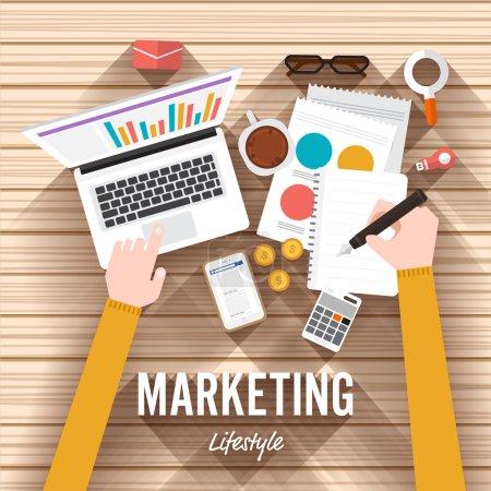 marketing elements on wooden desk