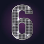 Alphabet number six with blinking silver diamonds on dark background